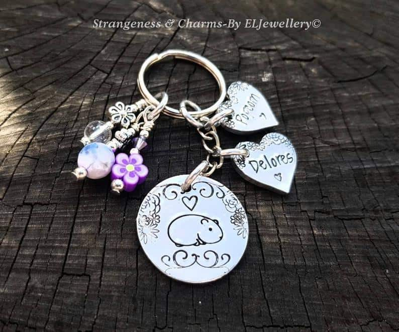 Hand Stamped Personalized 'Guinea Pig's' Aluminum Keychain