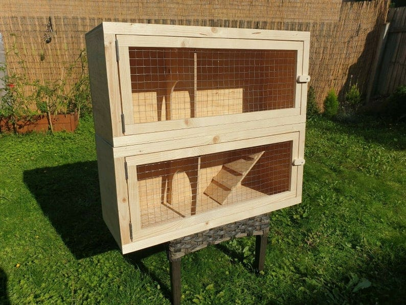 2 tier Rabbit Hutch Guinea Pig Run Chinchilla Hedgehog Ferret Cage Home