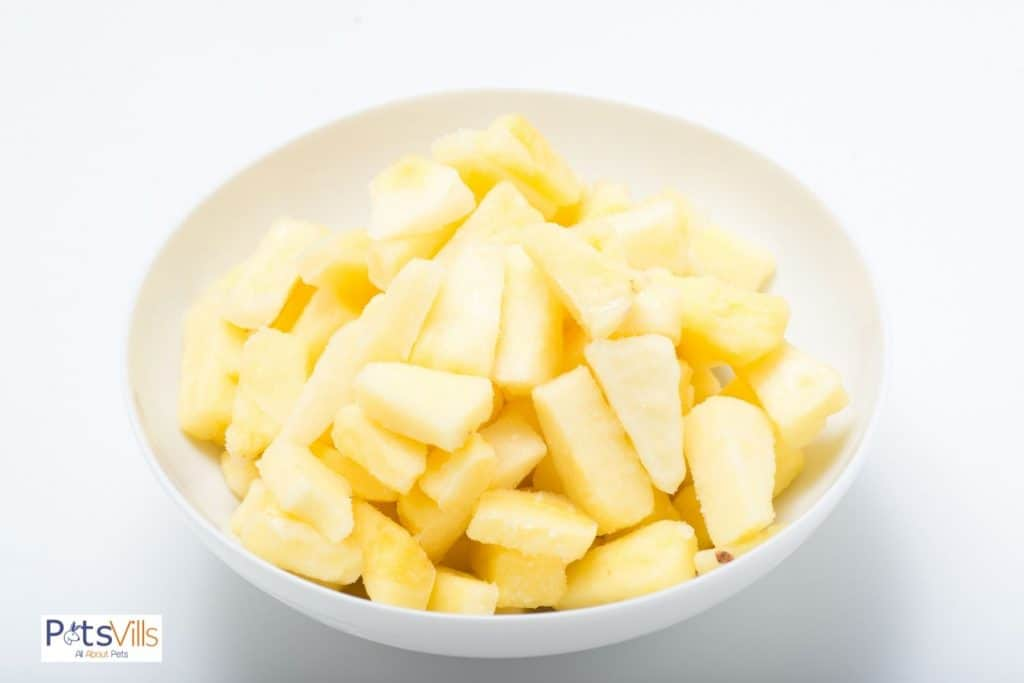 frozen pineapples in a bowl
