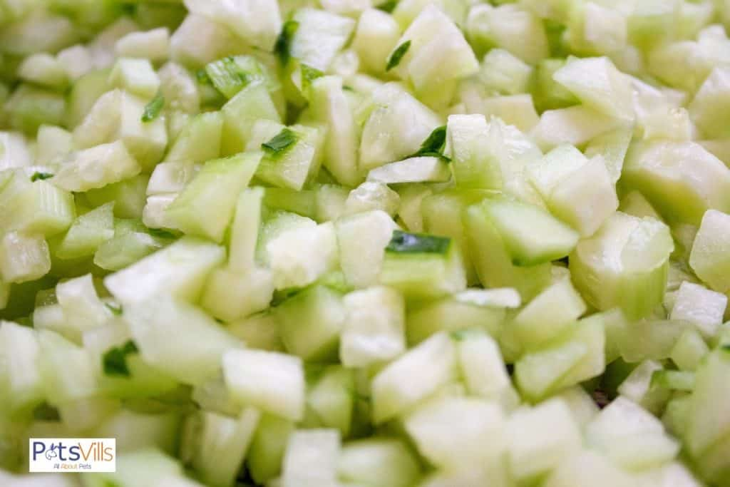 finely chopped cucumbers